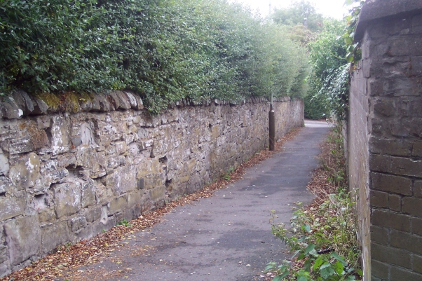 a narrow walled lane
